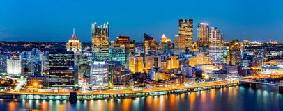 Panorama del centro di Pittsburgh Fotografia Stock Libera da Diritti