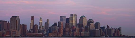 Panorama del centro di tramonto di Manhattan Fotografia Stock