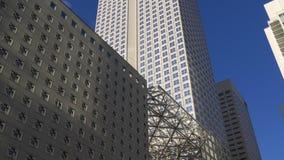 Panorama del centro 4k Florida S.U.A. degli edifici per uffici di Miami di tramonto stock footage