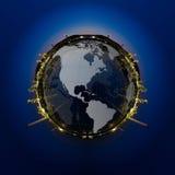 Panorama del cerchio di industria petrochimica Immagini Stock Libere da Diritti