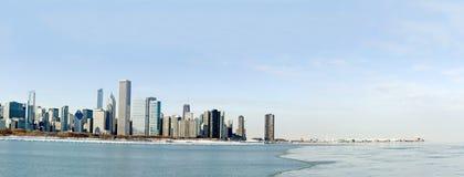 Panorama del Chicago in inverno Fotografia Stock