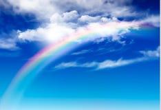 Panorama del cielo blu di vettore con le nuvole bianche illustrazione di stock