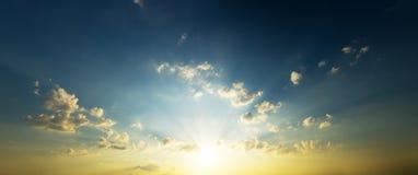 Panorama del cielo de la tarde Imágenes de archivo libres de regalías