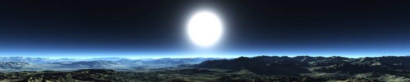 Panorama del cielo notturno panorama delle montagne, la luce sopra le montagne fotografia stock