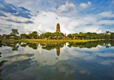 Panorama del complesso del tempio di Wat Phra Ram Fotografia Stock