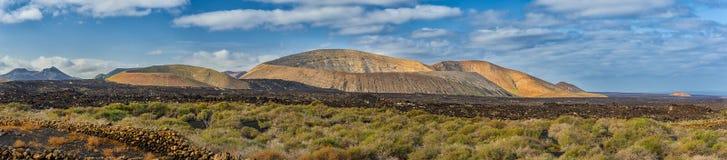 Panorama del cratere del vulcano, Lanzarote Fotografie Stock