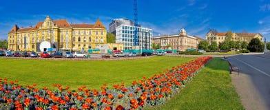 Panorama del cuadrado de Tito del mariscal de Zagreb imágenes de archivo libres de regalías