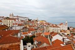Panorama del cuarto de Alfama en Lisboa Fotografía de archivo