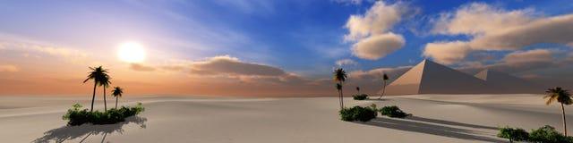 Panorama del desierto de la arena en la puesta del sol Imagen de archivo libre de regalías