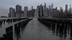 Panorama del distrito de New York City Manhattan Finacial almacen de video