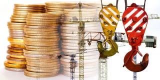 Panorama del edificio en el dinero del fondo fotografía de archivo libre de regalías