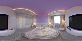 Panorama del ejemplo del diseño interior del dormitorio Imágenes de archivo libres de regalías