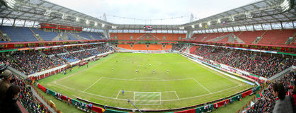 Panorama del estadio de fútbol Foto de archivo libre de regalías