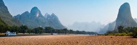Panorama del fiume di Lijiang Fotografia Stock