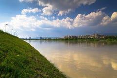 Panorama del fiume di Zagabria Fotografie Stock