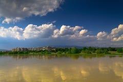 Panorama del fiume di Zagabria Immagine Stock Libera da Diritti