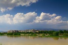 Panorama del fiume di Zagabria Immagini Stock
