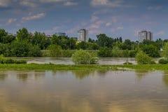 Panorama del fiume di Zagabria Fotografia Stock