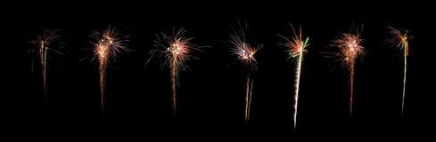 Panorama del fuego artificial de la celebración Imágenes de archivo libres de regalías