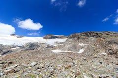 Panorama del ghiacciaio con la montagna Kristallwand, alpi di Hohe Tauern, Austria Fotografia Stock