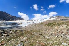 Panorama del ghiacciaio con la montagna Kristallwand, alpi di Hohe Tauern, Austria Fotografia Stock Libera da Diritti