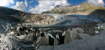 Panorama del ghiacciaio del Rhone Fotografie Stock
