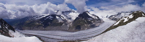 Panorama del ghiacciaio di Aletsch Immagine Stock