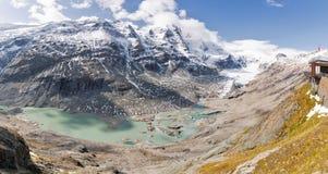 Panorama del ghiacciaio di Kaiser Franz Josef Grossglockner, alpi austriache Fotografie Stock