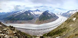 Panorama del glaciar de Aletsch Imagen de archivo libre de regalías