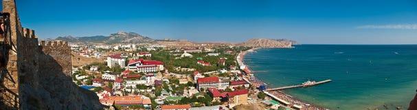 Panorama del golfo del mare nel sudak, Crimea Fotografia Stock Libera da Diritti