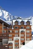 Panorama del Hils e degli hotel, Les Deux Alpes, Francia, francese Immagini Stock Libere da Diritti