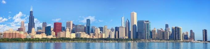 Panorama del horizonte de Chicago foto de archivo libre de regalías