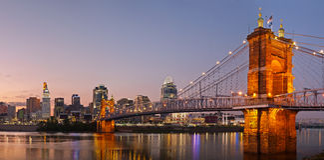 Panorama del horizonte de Cincinnati. Foto de archivo