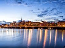 Panorama del horizonte de la puesta del sol de Estocolmo Foto de archivo libre de regalías