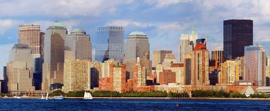 Panorama del horizonte de New York City Imágenes de archivo libres de regalías