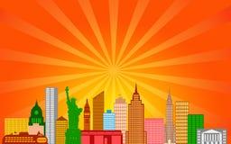 Panorama del horizonte de New York City ilustración del vector