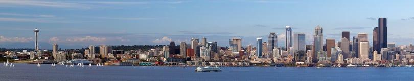 Panorama del horizonte de Seattle Imagen de archivo libre de regalías