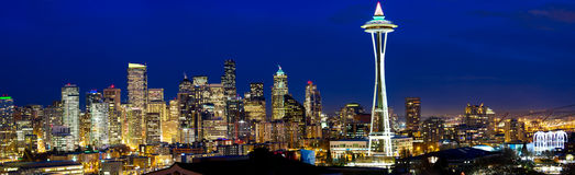 Panorama del horizonte de Seattle Foto de archivo
