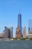 Panorama del horizonte del Lower Manhattan de la isla de los gobernadores Imagenes de archivo