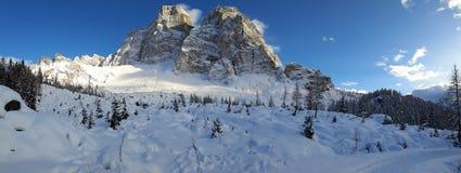 Panorama del invierno de Pelmo del soporte Fotografía de archivo