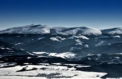 Panorama del invierno de Strbske Pleso Imagen de archivo libre de regalías