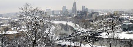 Panorama del invierno de Vilnius Imagenes de archivo