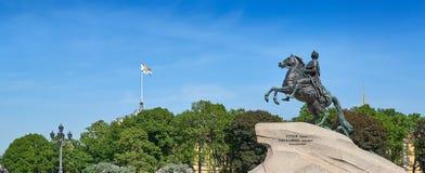 Panorama del jinete de bronce en St Petersburg Fotografía de archivo
