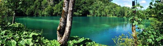 Panorama del lago azulverde Fotos de archivo libres de regalías
