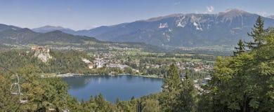 Panorama del lago Bled, del castello medievale e delle alpi in Slovenia Immagine Stock
