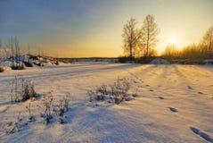 Panorama del lago del invierno Fotografía de archivo