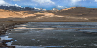 Panorama del lago di moriri di TSO nel leh, ladakh India Fotografia Stock