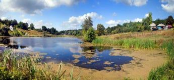 Panorama del lago di paesaggio nell'ucranino Fotografia Stock Libera da Diritti