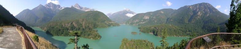 Panorama del lago diablo Fotografia Stock Libera da Diritti