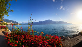 Panorama del lago geneva Fotografia Stock Libera da Diritti